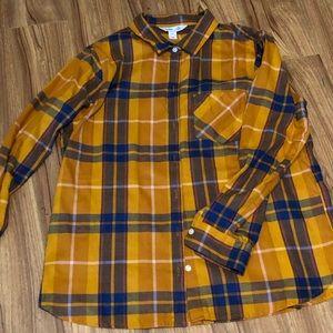 Old Navy NWOT Classic Shirt Yellow Plaid XL